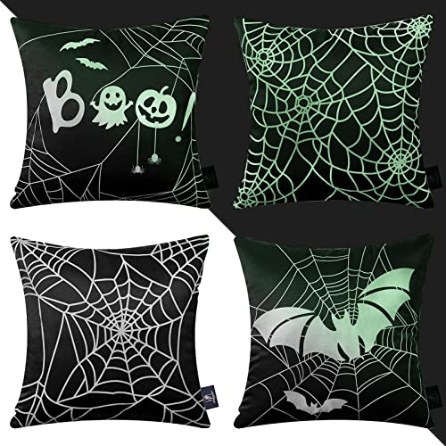 lowest Phantoscope Set online of 4 Halloween Glow in The Dark Decorative Throw Pillow Covers, lowest Spider Web Luminous Pillowcase Cushion Cover, Black and White, 18 x 18 inch, 45 x 45 cm online sale