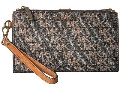 MICHAEL Michael Kors Double Zip Wristlet (Brown/Acorn) Wristlet Handbags