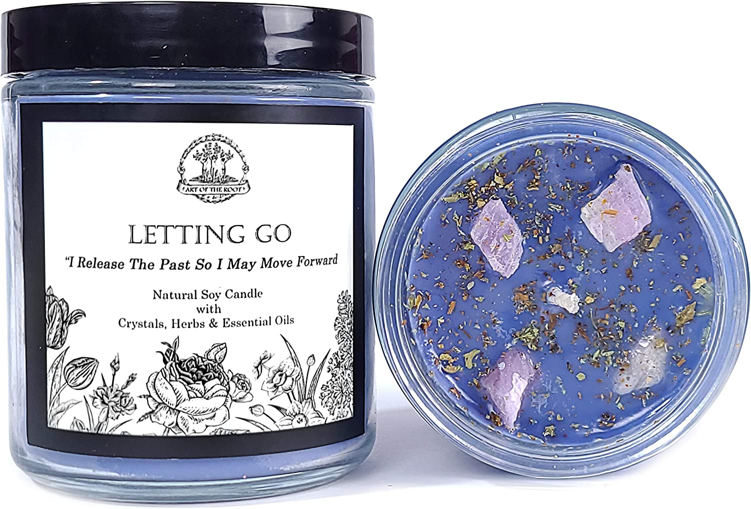 Letting Go Affirmation Candle: 8 Year-end annual account oz Natural Soy Kunzit Under blast sales Pink with