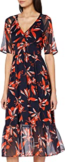 French Connection Women's ELIVA CRINKLE V NECK DRESS Casual Dress