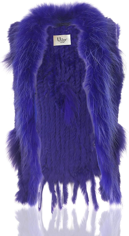 Uilor® Damen 100% Echte Kaninchen Fellweste Winter Gestrickt Pelzweste Länge 65cm Navy blau