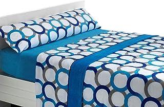 SABANALIA Juego de sábanas de coralina Aros - Cama 90, Azul