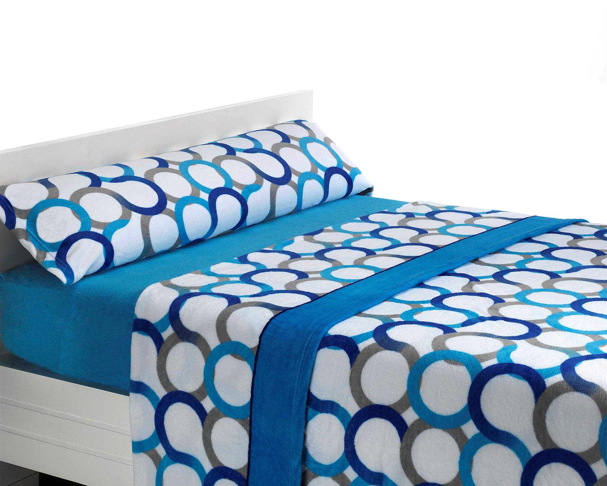 SABANALIA Juego de sábanas de coralina Aros - Cama 135, Azul: Amazon.es: Hogar