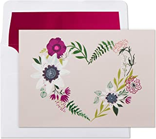 Hallmark Blank Cards, Floral Wreath Heart (10 Cards with Envelopes)