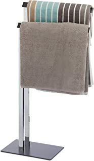 Relaxdays Free-Standing Towel Rail, Towel Rack with 2 Bars for The Bathroom, HWD 82 x 46 x 20 cm, Chrome/Anthracite