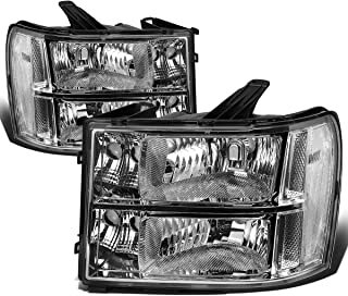 For GMC Sierra GMT 900 Pair of Chrome Housing Clear Corner Headlight Replacement