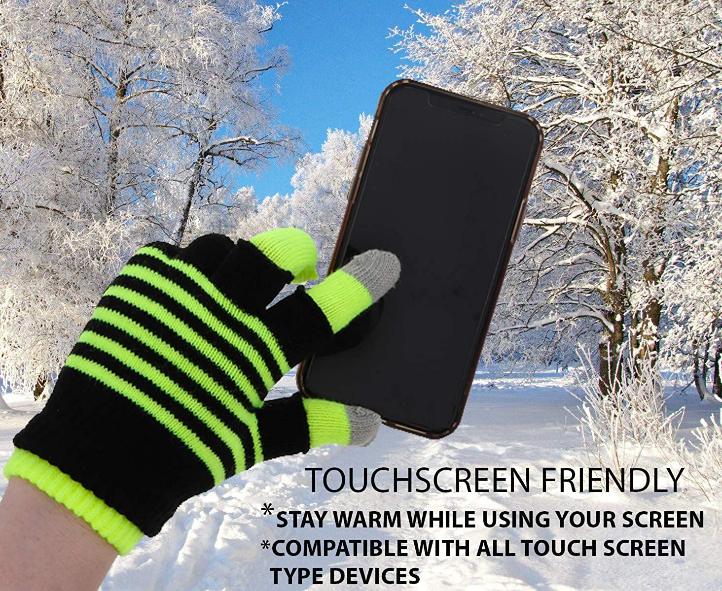 Knit Fingerless and Regular Touchscreen Ladies Gloves Neon Stripes - 2 in 1