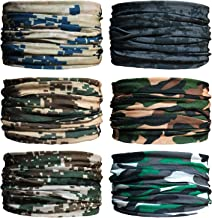 Sea Team 6-Pack Seamless Face Cover, Cycling Face Mask, Tie Dye Neck Gaiters, Bandanas, Balaclavas, Headbands, Versatile Headwear for Sports, Workout, Running, Hiking, Casual, Outdoors (C-3)