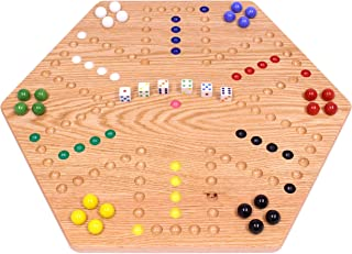 "AmishToyBox.com Oak-Wood Hand-Painted Double-Sided Wooden Aggravation Marble Game Board, 20"" Wide"