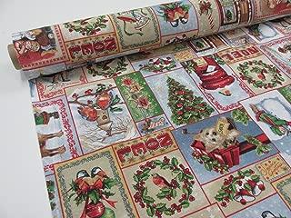 Confección Saymi Metraje 0,50 MTS Tejido loneta Estampada Ref. Navidad Vintage, Doble Ancho 2,80 MTS.
