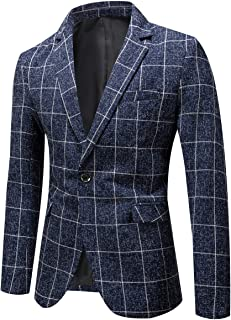 YOUTHUP Mens Check Blazer Slim Fit Casual Plaid Suit Jacket 1 Button Dress Jackets