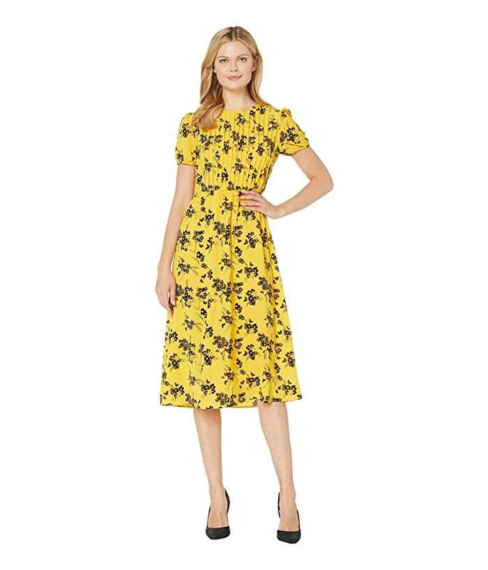 1babc3c18ed MICHAEL Michael Kors Botanical Short Sleeve Dress (Golden Yellow/Black) Women's  Dress