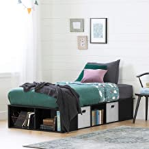 South Shore Flexible Platform Bed with Baskets-Twin-Black Oak