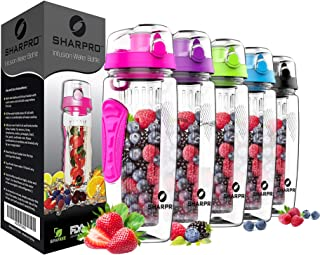 sharpro 32 OZ Fruit Infuser Water Bottle,  Flip Top Lid & Dual Anti-Slip Grips,  BPA Free Infusion Water Bottle,  Ideal for Sports Office Home car Gifts