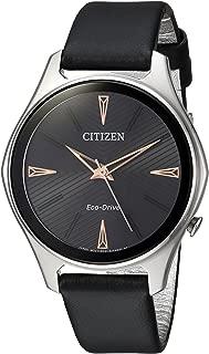 Citizen Women's 'Eco-Drive' Quartz Stainless Steel and Leather Dress Watch, Color:Black (Model: EM0591-01E)