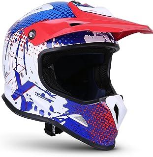Soxon SKC-33 Kinder-Cross-Helm, ECE Schnellverschluss SlimShell Tasche, XXS 49-50cm, Fusion Weiß Blau