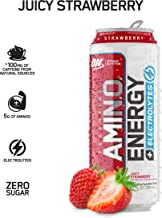 OPTIMUM NUTRITION ESSENTIAL AMINO ENERGY Plus Electrolytes Sparkling Hydration Drink, Juicy Strawberry, Keto Friendly BCAAs, 12 Count