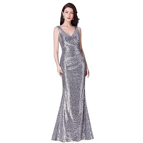 be4721fc9cf1 Ever Pretty Women's V Neck Floor Length Sleeveless Sequin Long Formal  Evening Dresses 07405