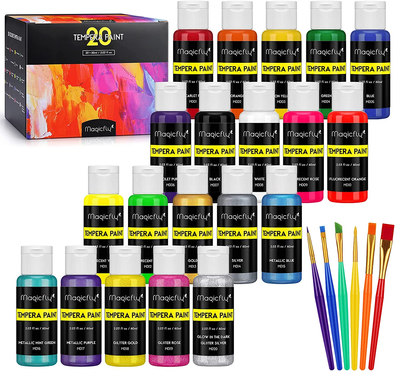 Magicfly Washable Max 43% OFF Kids Paint Set of 2 oz 5 ☆ very popular Each Tempera 20 Colors