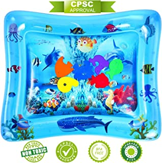 NASHRIO Tummy Time Water Play Mat, Baby Toys for 3 6 9 Months, The Perfect Fun Toy for Infant Early Development Activity Centers| BPA Free| Promotes Visual Stimulation