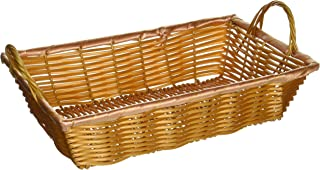 Winco PWBN-12B Rectangular Woven Basket with Handles, 12-Inch by 8-Inch by 3-Inch
