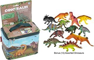 Neat-Oh Zip-Bin Dinosaur Travel Tote and Playmat with 2-Dinosaurs plus a Bonus bag of 12-Assorted Dinosaurs