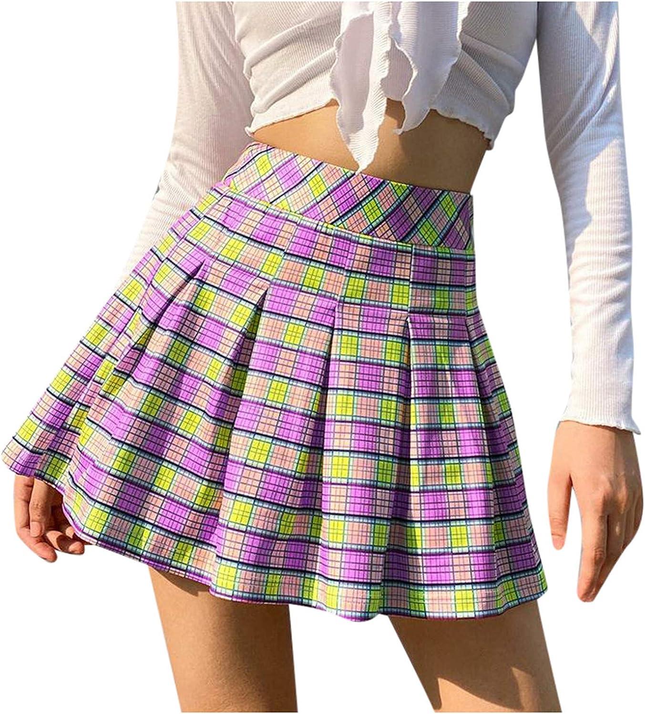 iHHAPY Women's High Waist Plaid Pleated A-Line Mini Skirt Casual School Uniform Skater Tennis Skirts