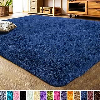 LOCHAS Luxury Velvet Living Room Carpet Bedroom Rugs, Fluffy, Super Soft Cozy, Bright Color, High Pile, Floor Area Rugs for Girls Room, Kids, Nursery and Baby (5.3x7.5 Feet, Indigo)