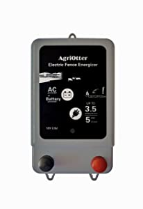 AgriOtter Electric Fence Energizer 20 Acre 2 in 1 Powered by Battery or AC Outlet 10000V 2J Pulse Electric