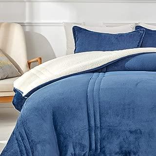 Uozzi Bedding 3-Piece Navy Sherpa Flannel Micromink King Comforter Set Ultra Soft Winter Microfiber Fill Bedding Set Down Alternative Fleece Warm Weighted Duvet with 2 Pillowcase