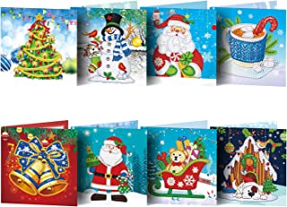 Gukasxi 16 Stks DIY Diamond Painting Kerstkaart Enveloppen Vakantie Wenskaarten Kits Kerstboom Nieuwjaar Wenskaart Kerst S...