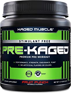 Stimulant Free Pre Workout Powder; KAGED MUSCLE Preworkout for Men & Pre Workout Women, Delivers Increased Strength, Endur...
