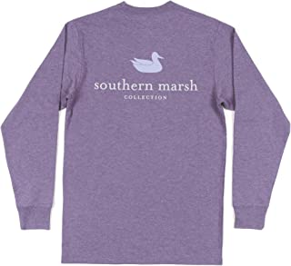 Southern Marsh Authentic Long Sleeve Tee in Washed Dark Green