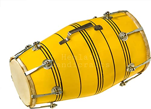 Hemlata Handicrafts Yellow Nut Bolt Dholak