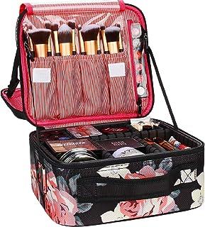 حقيبة مكياج للسفر، حقيبة مستحضرات التجميل الاحترافية من Chomeiu، حقيبة إكسسوارات، حقيبة أدوات (أسود-M) (فلاورB-M)