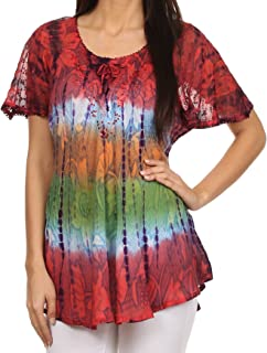 Sakkas Dina Relaxed Fit Sequin Tie Dye Embroidery Cap Sleeves Blouse/Top