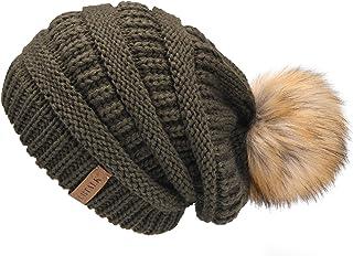 FURTALK Womens Winter Knit Beanie Hat Skull Cap Slouchy Beanie Pom Pom Hats for Women ArmyGreen