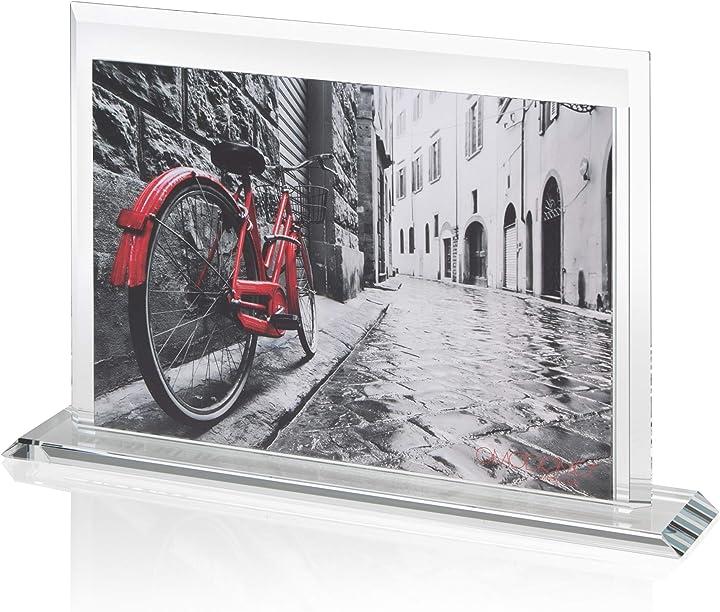 Cornice di cristallo per foto 24x18 cm, realizzata a mano in italia omodomo B08KW44PQP