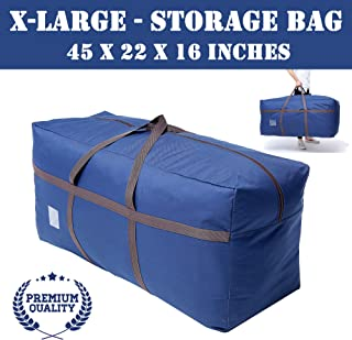 Large Blue Duffel Storage Bag - Premium-Quality Heavy Duty 600D Polyester Oxford Cloth with Handles and Reinforced Seams - 45