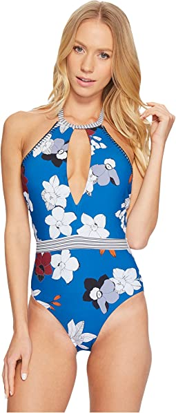 Red Carter - Plumeria Halter Plunge Keyhole Maillot