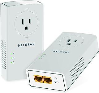 NETGEAR Powerline 适配器 2000 Mbps (2) 千兆位以太网端口带通道 + 附加插座 (PLP2000)