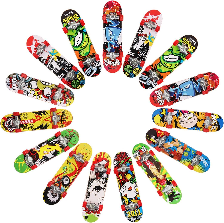 15 Pcs Patinetas Dedo Diapasón Mini Finger Skateboard,Juguete en Dedo,Juguete Juegos Deportivos Regalo para Niños Regalos Reyes Niños (Color Aleatorio)