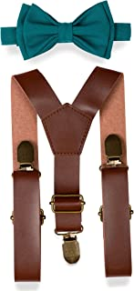 Brown PU Leather Suspenders Bow Tie Combo for Baby Toddler Boy Men