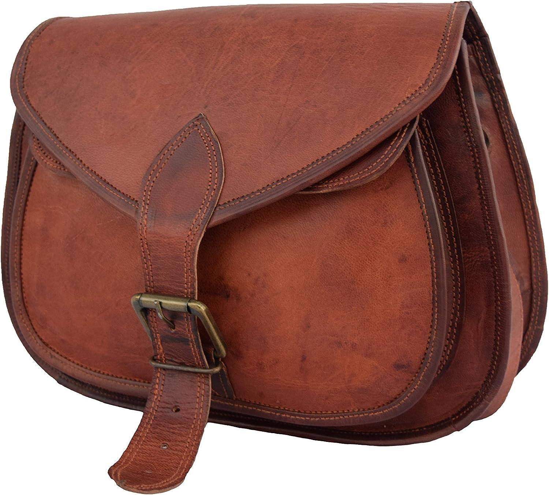 13 Inch Vintage Leather Women Satchel Messenger Shoulder Bag Ladies Purse Handbag Crossbody Bag