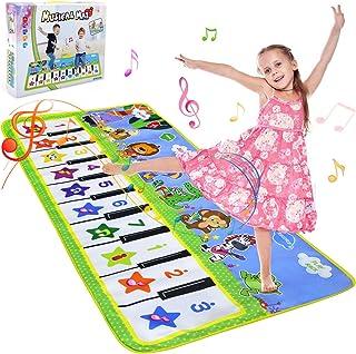 NEWSTYLE Barn pianomatta, musik dansmatta för småbarn, tangentbord musikmatta matta pedagogiska leksaker för småbarn pojka...