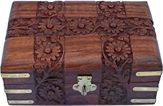 Handcrafted Rosewood Keepsake Box with Floral Carvings, 6 x 4 x 2.5 inches