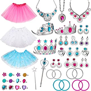 WATINC 51Pcs Princess Jewelry Toy Pretend Play Set Ballet Tutu Skirts of Stars Snowflake for Little Girls Crowns Necklaces Adjustable Jewel Rings Earrings Bracelets Wands Dress Up Accessories for Kids