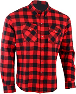 Bikers Gear Australia Men's Kevlar Lined Flannel Motorcycle Protective Shirt Red & Black