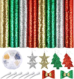 Caydo 8 Pieces Super Shiny ChristmasFaux Leather Sheet with Earring Hooks, Hair Clips for Making Christmas Theme Hair Bowsand Earrings (8.3 x 11.8 inch)