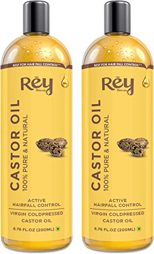Rey Naturals® Cold-Pressed, 100% Pure Castor Oil - Moisturizing & Healing, for Skin, Hair Care, Eyelashes (400ml) - (...